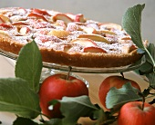 Apple and vanilla clafoutis on cake plate