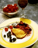 Fried cod fillet with port wine and berry sauce