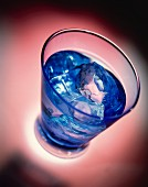 Drink with Blue Curacao and ice cubes
