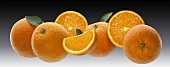 Oranges, orange halves and orange wedge