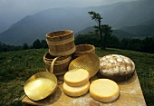 Munster cheese with bread & wooden barrel in the Vosges