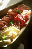 Appetiser platter with air-dried beef, sausage & cheese
