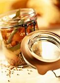 Mustard pickles in pickle jar