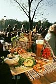 Snack with beer in beer garden