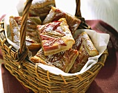 Pieces of rhubarb cake in a basket