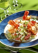 Grape salad with jumbo prawns and pine nuts