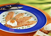 Salmon carpaccio with elderflower vinegar and caviare
