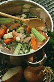 Chicken soup with celery, carrots and parsley
