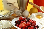 Ingredients for baking a berry tart