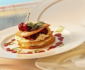 Millefeuilles with buttermilk mousse and cherries
