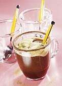 Café anglais with vanilla ice cream in glass