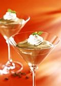Coffee zabaione with cream rosettes in glasses
