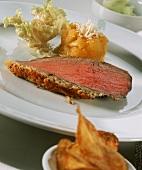 Roast beef with caramelised apples, horseradish & salad
