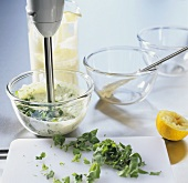 Making mayonnaise with basil
