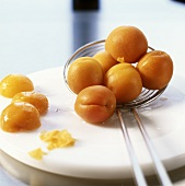 Blanching and skinning apricots