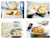 Making casserole with potatoes and apples