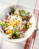Potato salad with radishes, cucumber and watercress