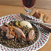 Duck and lentil stew with onion on plate