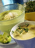 Cheese with thyme and broccoli and Parmesan sauce