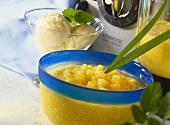 Pineapple and mango sauce for vanilla ice cream