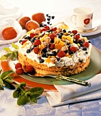 Madeira cake with Cassata cream, berries, apricots & amaretti