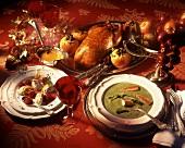 Chard soup; duck & baked apples; dumplings & raspberries