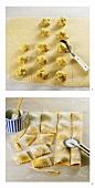 Making ravioli with pumpkin puree and Parmesan filling