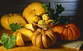Various pumpkins and squashes on wooden platter