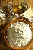 Pastry ingredients: flour, butter, salt, olive oil & water