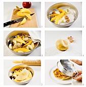 Making mango and apple tart with caramelised walnuts