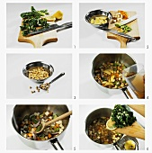 Making chick-pea stew with chard and lemon
