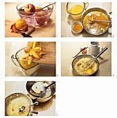 Pfirsich-Kaltschale mit Griessnocken zubereiten