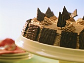 Chocolate cream gateau with chocolate biscuits
