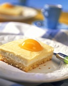 Piece of fried egg cake with apricots