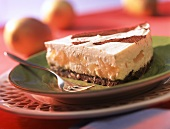 Piece of pear cheesecake with cocoa stripes