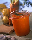 Carrot and lemon preserve in jam jar