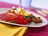 Stuffed pepper with mince, cheese and sweetcorn