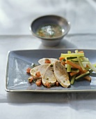 Poached chicken breast with vegetable vinaigrette