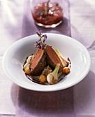 Venison fillets with chestnut puree & vegetables; jam jar