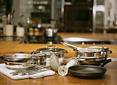 Various pots and pans and kitchen tools