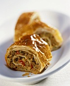 Puff pastry rolls with mince and pepper filling