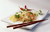 Glass noodle salad with shrimps, coriander leaves & chili