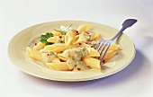 Penne with chick-pea and herb mousse and chili