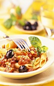 Penne alla salernitana (pasta with spicy vegetable ragout)