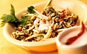 Spicy lentil and rice salad with chili peppers