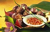 Thai fish balls with hot chili sauce