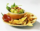 Guacamole with chili pepper and taco chips (from Mexico)