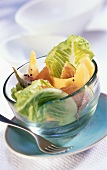 Melon and fig salad with Parma ham and romaine lettuce