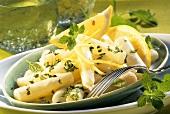 Scorzonera in lemon sauce with lemon balm