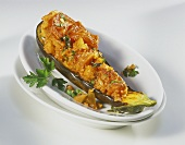 Stuffed aubergine with bulgur and vegetable tartare